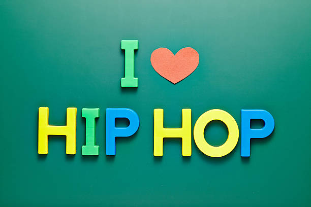 i love hip-hop handwritten on blackbord - hip hop poster bildbanksfoton och bilder