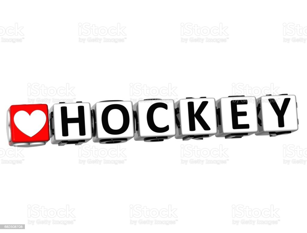 3D I Love Hockey Game Button Block text on white background royalty-free stock photo