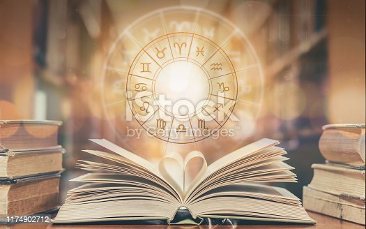 Love horoscope, zodiac sign astrology for foretell and fortune telling education study course concept with horoscopic wheel over old love story book in school library