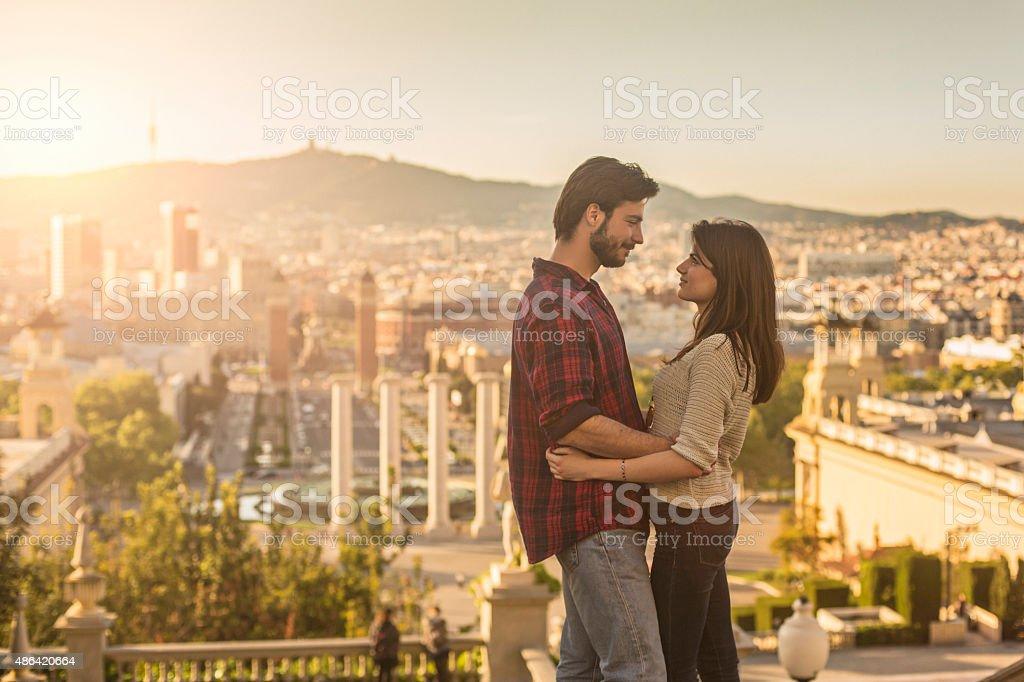 Love in Barcelona stock photo