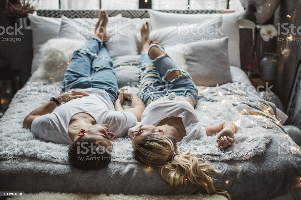 Love in lazy mode stock photo