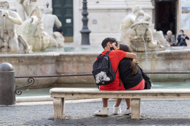 Love in Piazza Navona during Covid stock photo