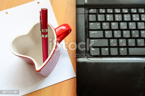 Love internet concept pen and glass
