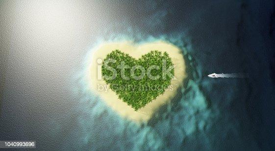 heart shaped island 3d rendering
