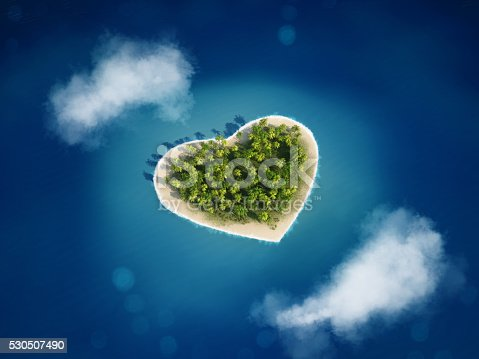 Island with the shape of the heart
