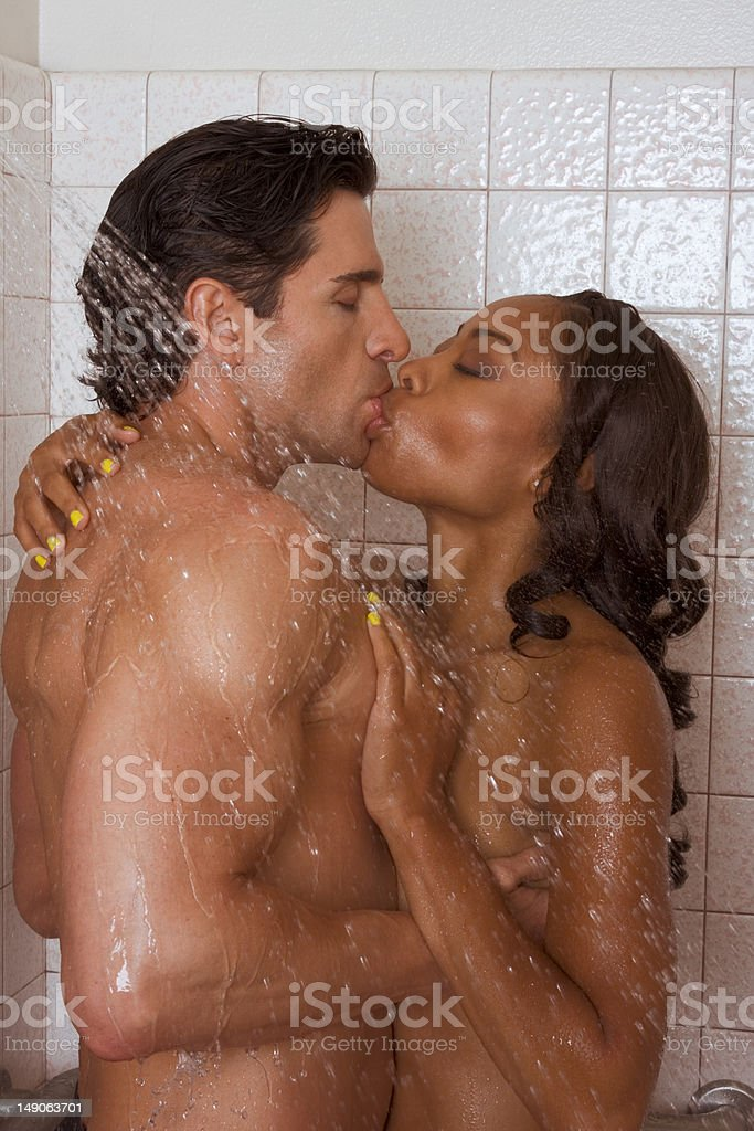 Love kiss couple naked Man and woman in shower stock photo