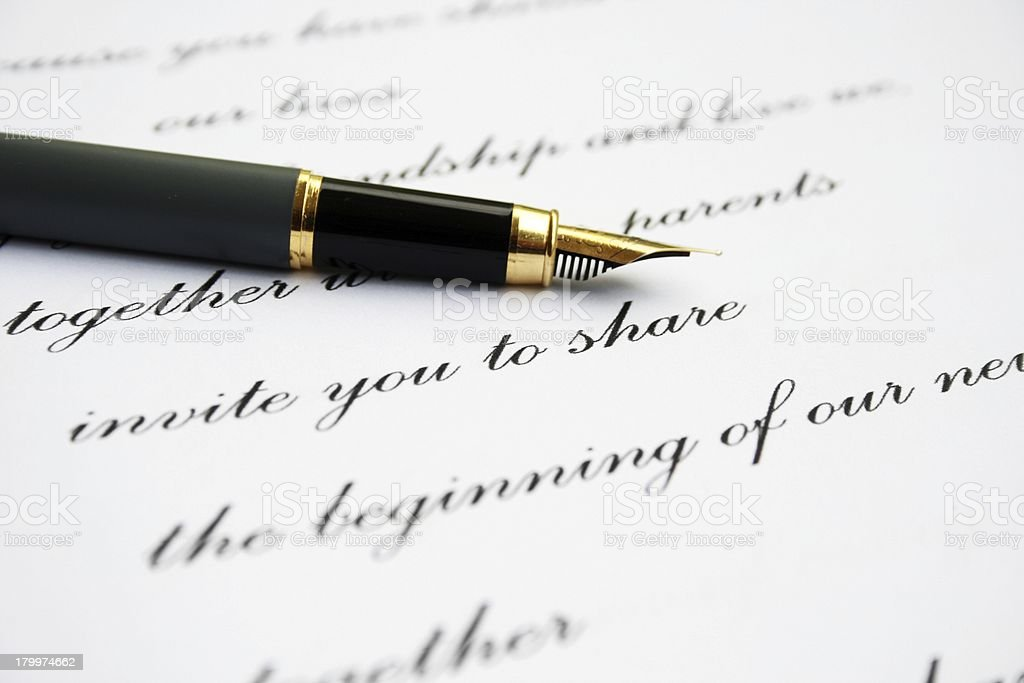 Love letter and fountain pen stock photo