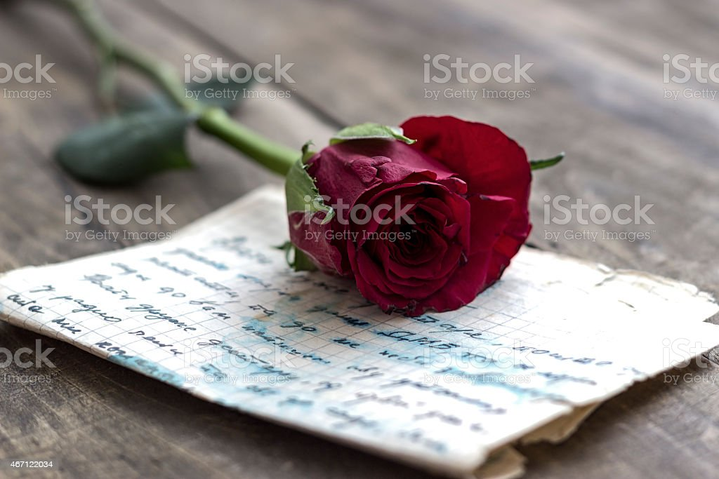 Love letter and rose - Royalty-free 2015 Stock Photo