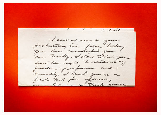 love letter from 1940s stock photo