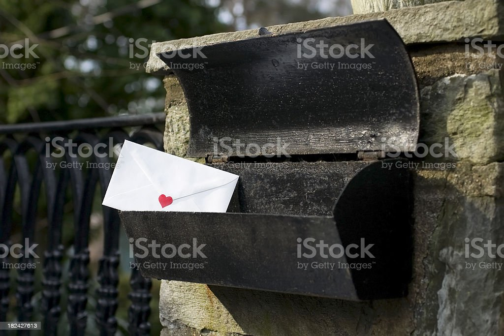 Love letter in the mail stock photo