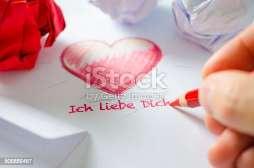 Hand writing a love letter