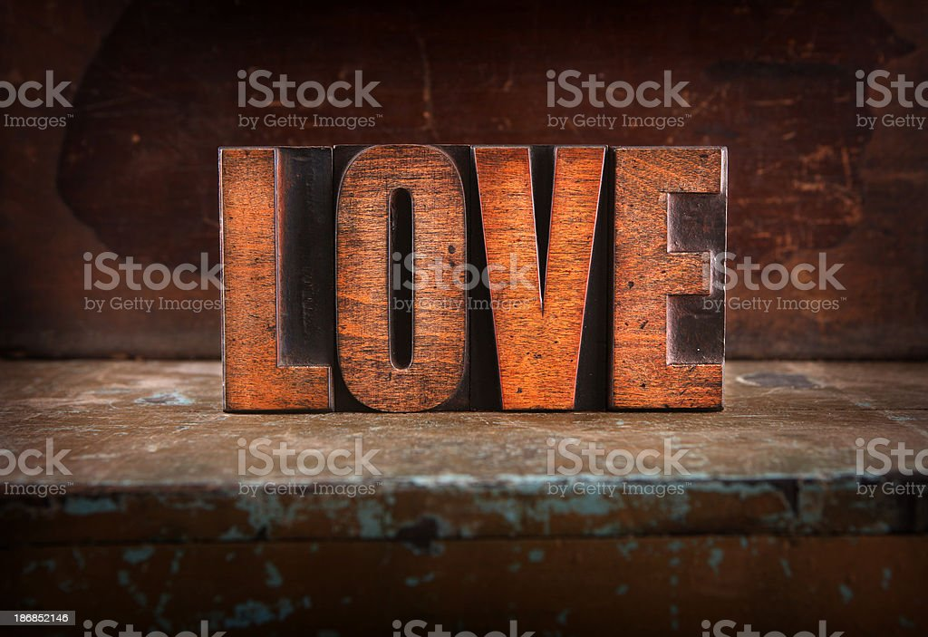 Love - Letterpress letters royalty-free stock photo