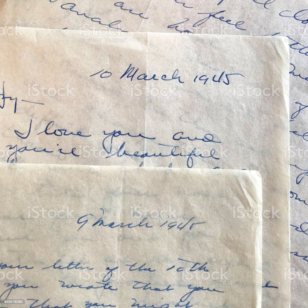 Love Letters from World War II stock photo