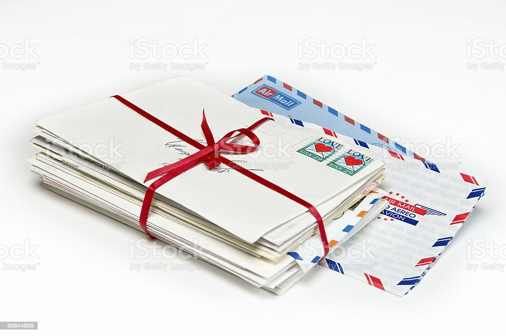 Love Letters with a Red Ribbon royalty-free stock photo