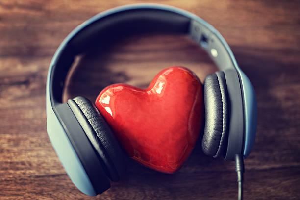 Love listening to music stock photo