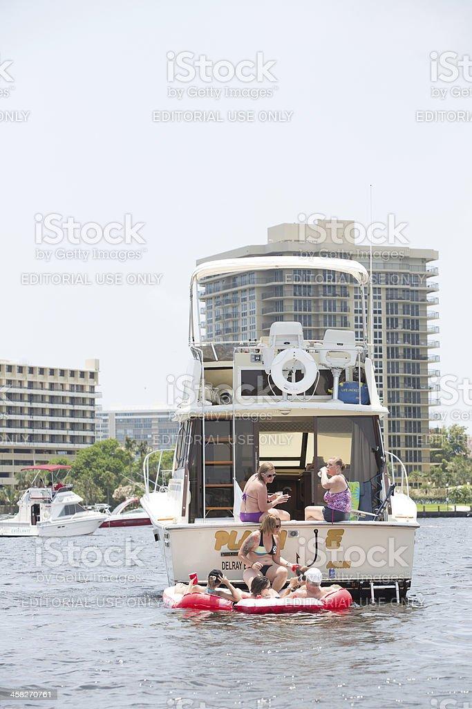 Love Local:  Boats on Boca Lake in the Atlantic Ocean royalty-free stock photo
