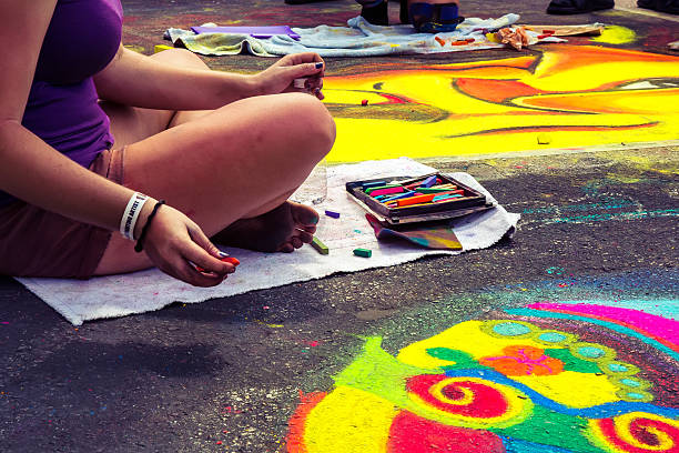 Love Local : Lake Worth Florida Street painting festival stock photo