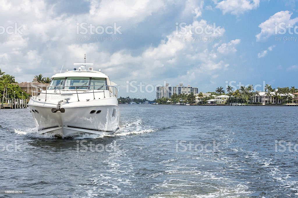 Love Local:  Large Boat on the Florida Intracoastal Waterway stock photo