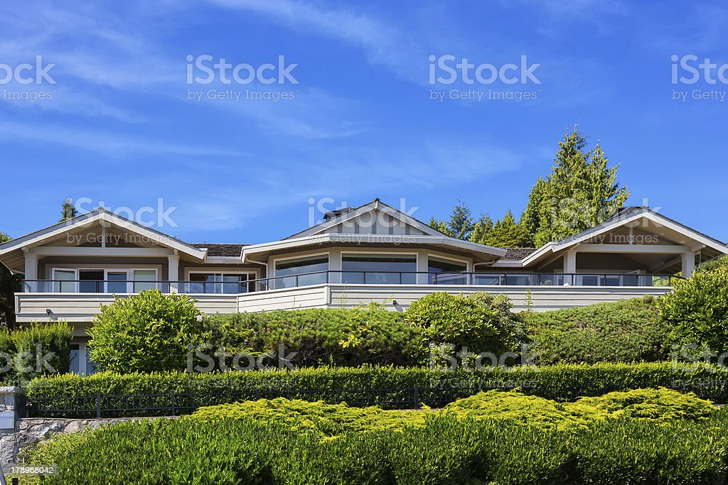 Love Local: Modern luxury estate home exterior in West Vancouver royalty-free stock photo