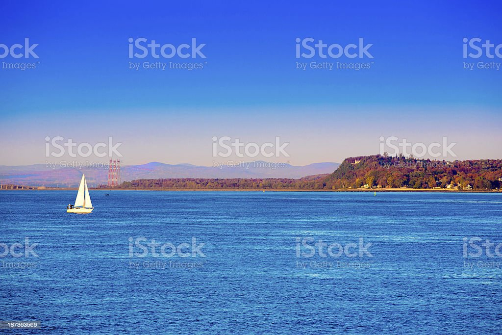 Love Local:  Sailboat on the St. Lawrence River Quebec Canada stock photo