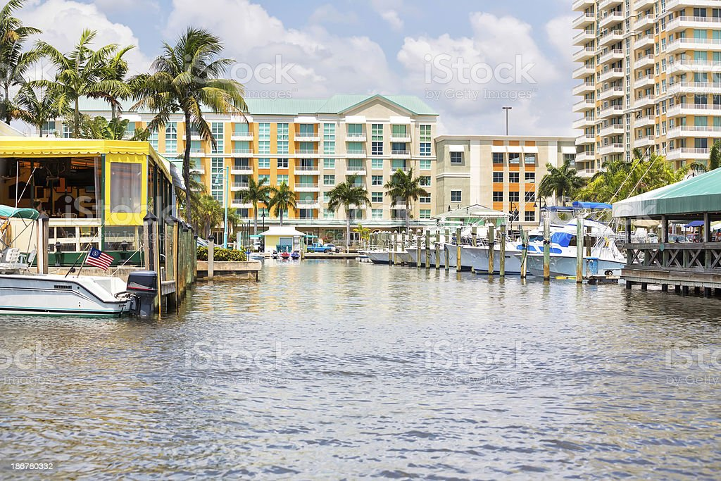 Love Local:  Waterfront Condominuims and restaurants in Delray Beach, Florida stock photo