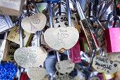 Love lock on a bridge in Paris, France Eternity connection Love symbol