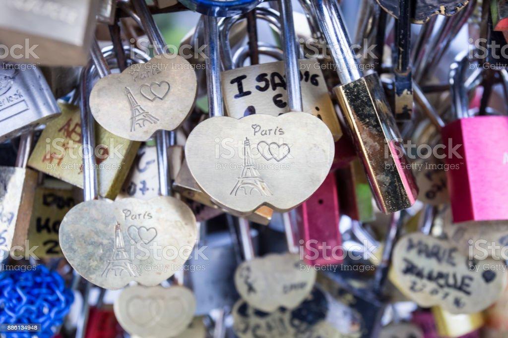 Love lock on a bridge in Paris, France Eternity connection Love symbol stock photo