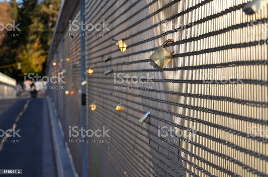 Love Locks and destiny fence stock photo