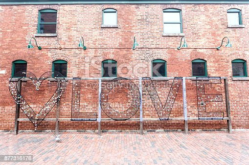 istock Love Locks at Distillery District in Toronto 877316176