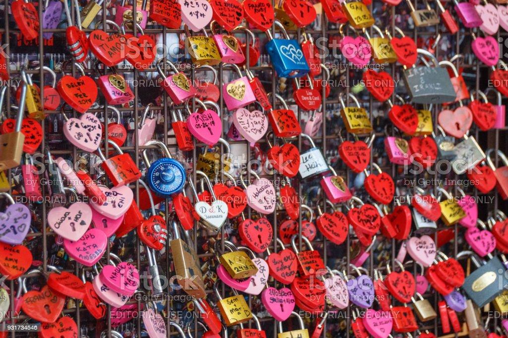 Love locks at Juliet's house in Verona, Italy stock photo