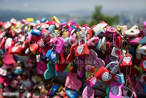 Seoul, Korea - May 28th 2018, Its the love locks at Namsan Tower, Seoul Korea. 서울