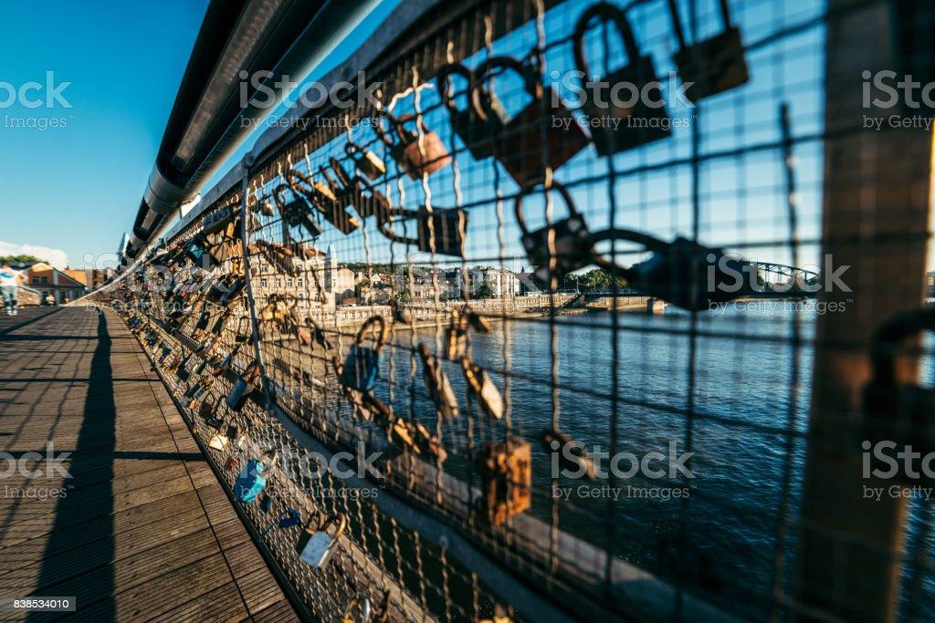 love locks at the Bridge stock photo