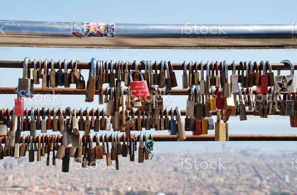 Love locks, Barcelona stock photo