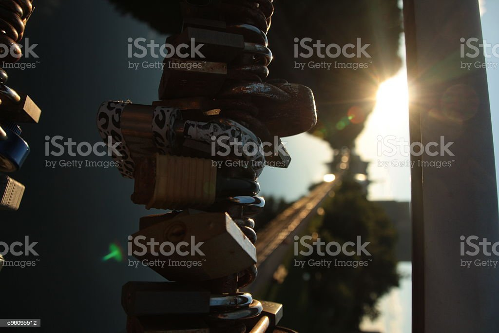 Love Locks in the sunset royalty-free stock photo