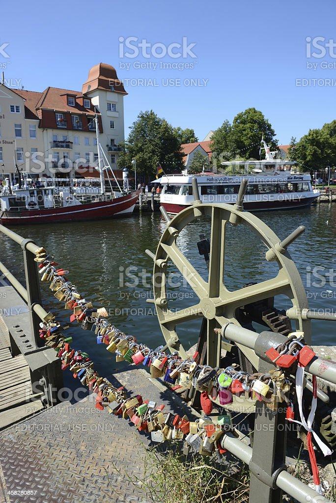 Love locks on a bridge at Warnemünde (Germany) royalty-free stock photo
