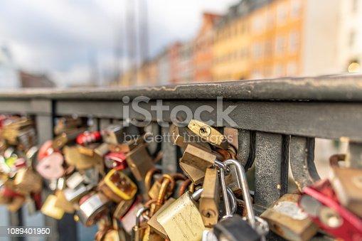Love locks on bridge in Copenhagen, Denmark