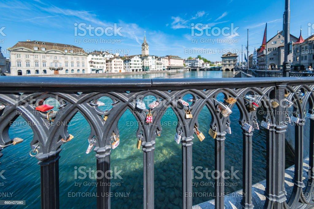 Love locks on bridge in Zurich stock photo