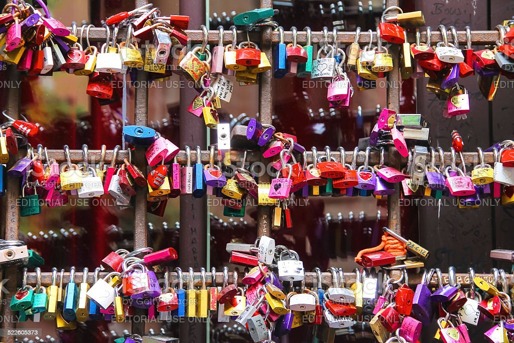 Love locks on  gates of the Juliet house in Verona stock photo