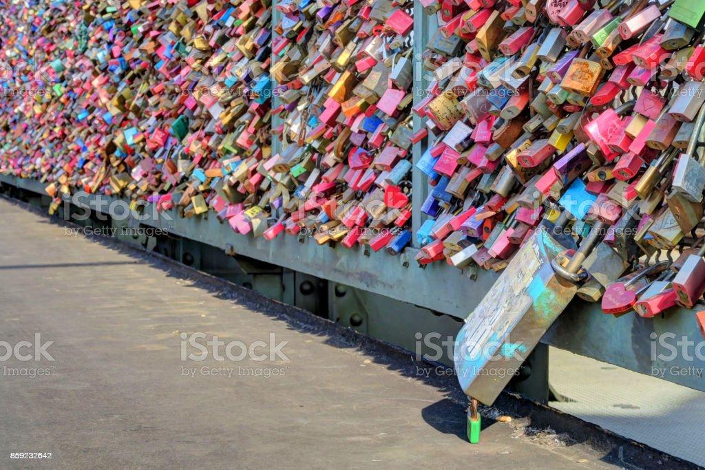 Love Locks on Hohenzollern Bridge stock photo
