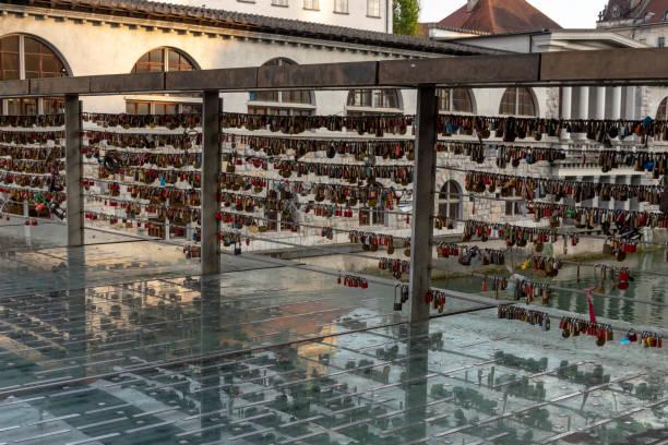 Love locks on Mesarski most stock photo