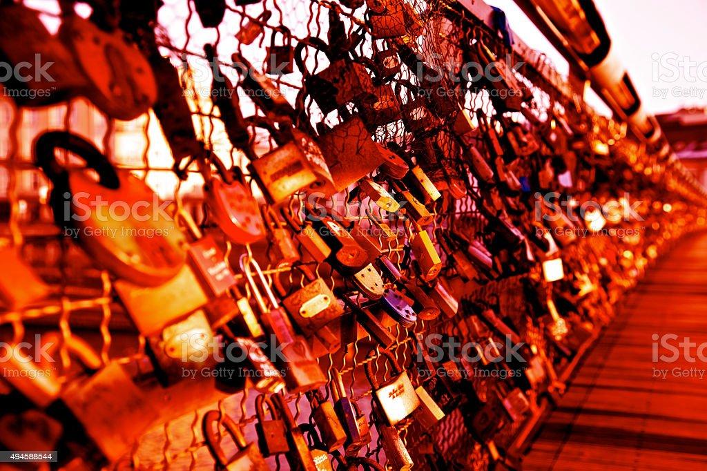 Love locks padlocks bridge romance eternal loyalty together symbol valentines stock photo