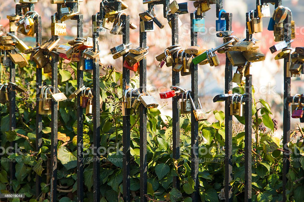 Love locks stock photo
