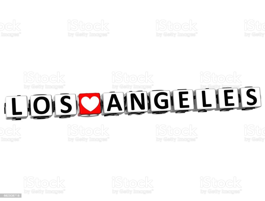 3D I Love Los Angeles Crossword Block text on white background royalty-free stock photo