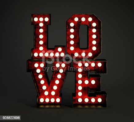 istock Love made of Red Rusty Metallic Frames with Light Bulbs. 928822698