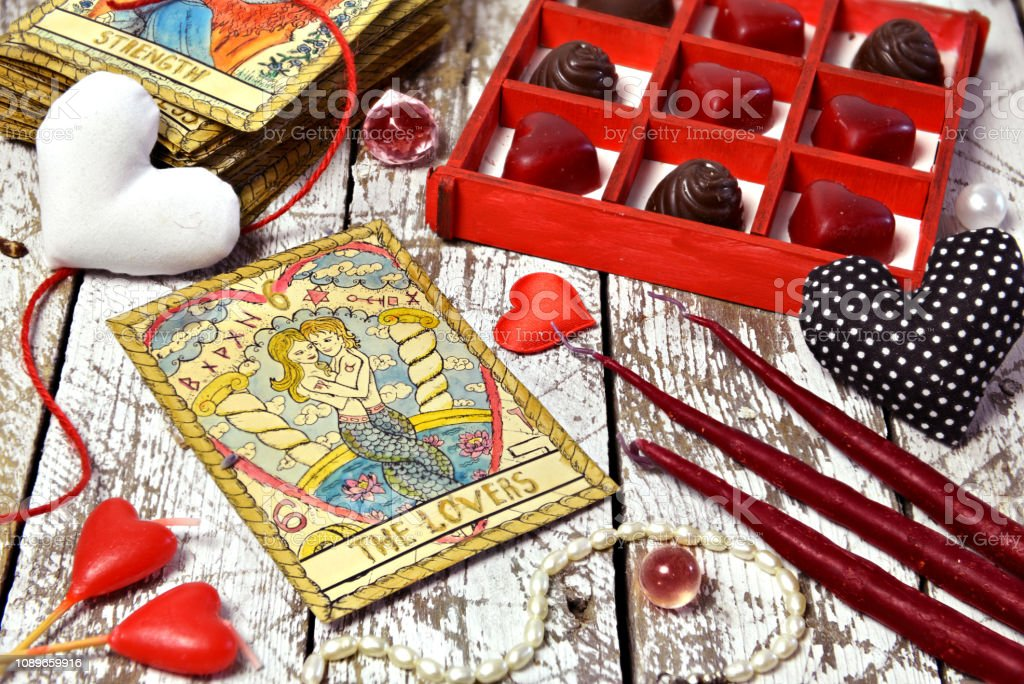 Love Magic Ritual With Red Candles Tarot Card Lovers Heart Symbols