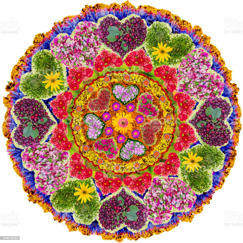 Love Mandala - spiritual and ritual symbol in  Buddhism,made  from summer flowers. Isolated abstract collage stock photo
