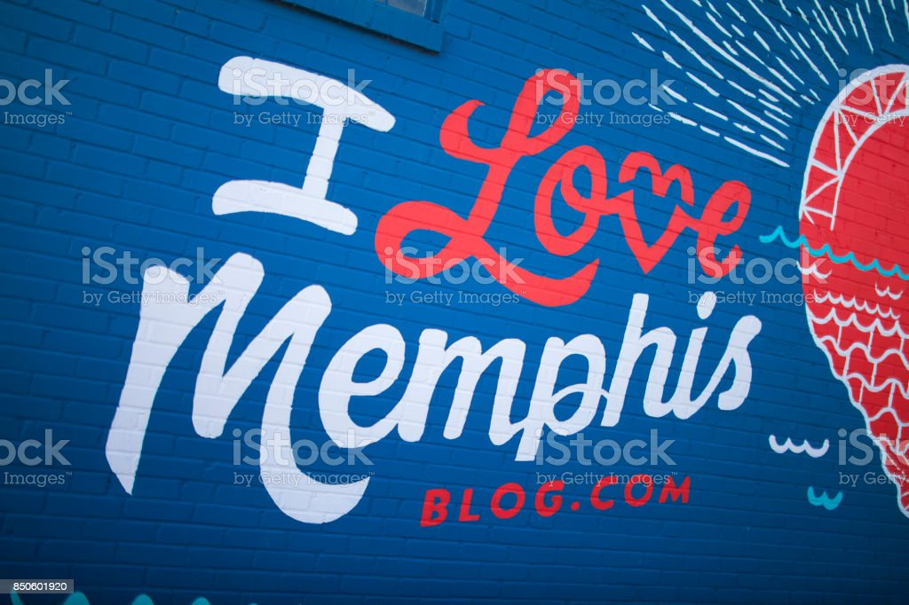 I Love Memphis mural in Crosstown Midtown Memphis, TN stock photo