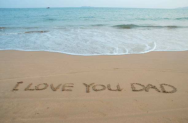 Love message in beach stock photo