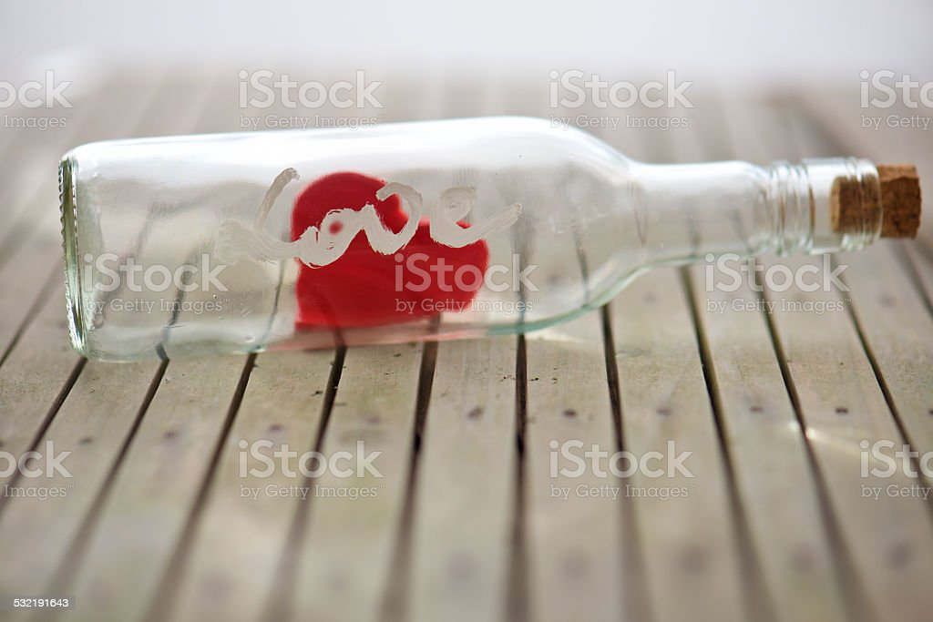love message in bottle for Valentine's day stock photo