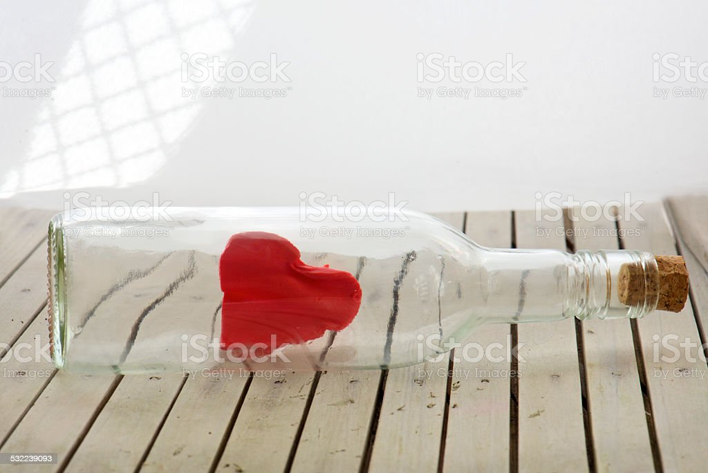 love message in the bottle stock photo